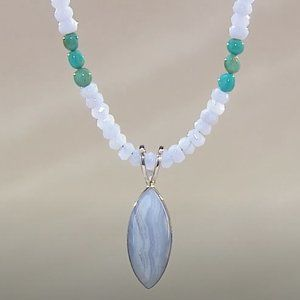 JAY KING Blue Lace Agate SS Bead Necklace